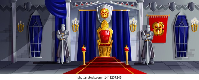 Castle room vector cartoon illustration. Ballroom interior in medieval palace with royal throne, armed knights in metal armor, tapestries and candles in candelabra on stone walls, game background