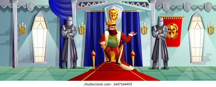 Castle room vector cartoon illustration. Ballroom interior in medieval palace with king in golden crown on royal throne, armed knights in metal armor, tapestries on stone walls, game background