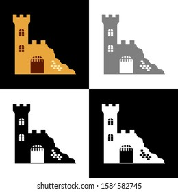 Castle ruin icon set, vector illustration