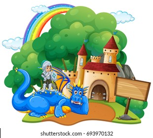 Castle scene with knight and dragon illustration