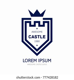 Castle and shield logo template
