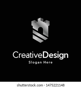 Castle Shield Metallic Creative Logo Design