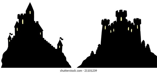 Castle silhouettes on white background  - vector illustration.