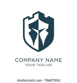 Castle spartan shield logo template