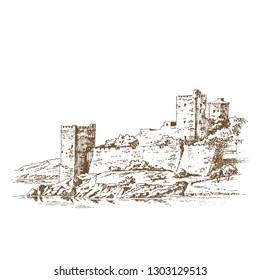 Castle of St. Peter or Petronium. Bodrum Castle (Turkish: Bodrum Kalesi). Engraving
