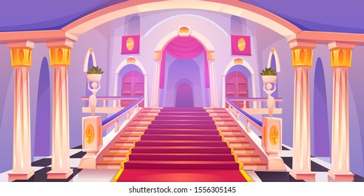 Castle staircase, upward stairs in palace entrance with pillars, statues, red rag and wooden doors, medieval architecture empty fantasy or historical building hall interior Cartoon vector illustration