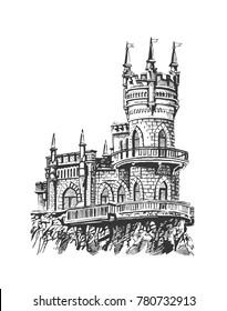 """Castle """"Swallow's Nest"""". Crimea. Graphic sketch"""
