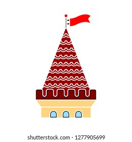 castle tower icon - castle tower isolated, castle fantasy illustration - Vector castle