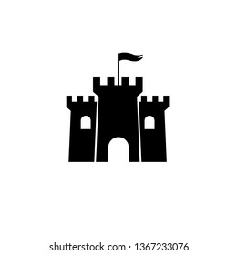 Castle Tower icon, logo isolated on white background