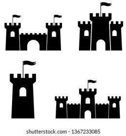 Castle Tower icon, logo isolated on white background