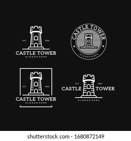 castle tower simple line art vintage logo design template Premium Vector