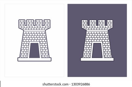 Castle tower, turret, turret fortress and castle gate vector icon