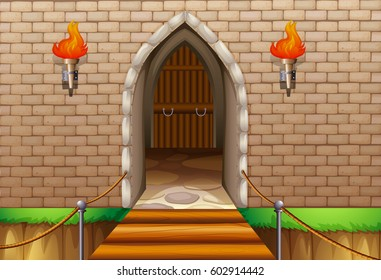 Castle tower wall with bridge illustration