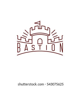 Castle tower with wall thin line vector logo