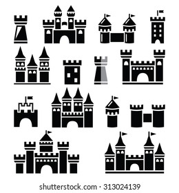 Castle, towers vector icons set