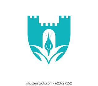 Castle tulip logo template