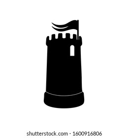 A castle turret with a flag logo icon.