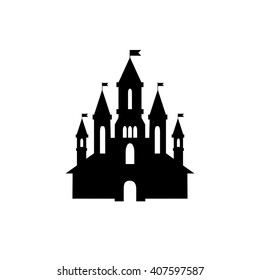 Castle vector icon,isolated on white.Tower in a flat style, black silhouette. Medieval house. Knights, Royal,princess building.Vintage fairytale symbol
