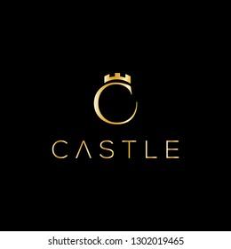 Castle vector logo. C letter logo. Crown emblem design