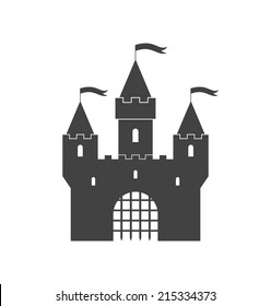 Castle. Vintage. Isolated building on white background. Eps10 vector