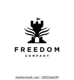 Castle wing freedom logo design inspiration