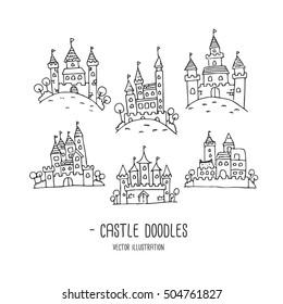 Castles. Doodles. Hand Draw
