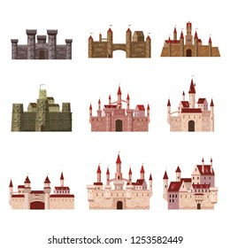Castles, fortress, ancient, architecture middle ages Europe, Medieval palaces with high towers and conical roofs, vector, banners, isolated, illustration, cartoon style