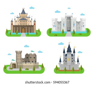 Castles and fortress with walls, towers and gates. Old medieval forts and king strongholds in a flat style. Cartoon fairy-tale palaces and kingdoms.