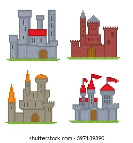 Castles and fortresses vector icons. Pixel art. Old school computer graphic style.