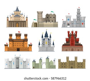 Castles and fortresses vector set in a flat style. Fairy medieval palaces with towers, walls and flags. Icons old forts isolated from the background.