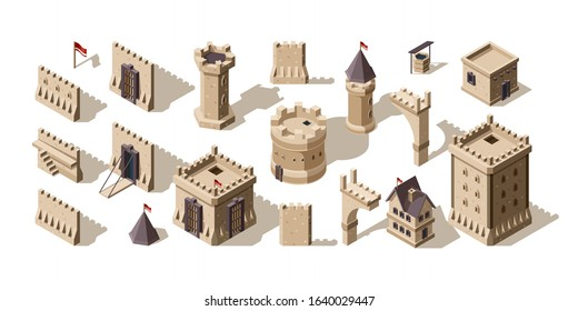 Castles isometric. Medieval buildings brick wall for low poly game asset old fort vector set