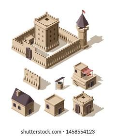 Castles isometric. Medieval historical cartoon architecture buildings ancient farm houses vector castles. Castle and farm house, medieval building 3d illustration