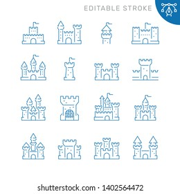 Castles related icons. Editable stroke. Thin vector icon set, black and white kit