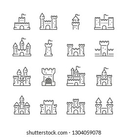 Castles related icons: thin vector icon set, black and white kit