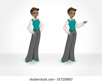 Casual black woman with glasses. Isolated afro-american character.
