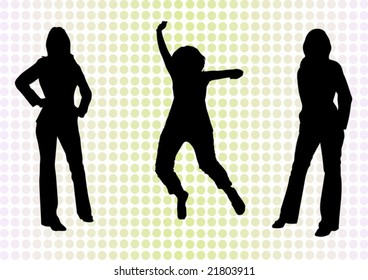 Casual and business girls vector illustration