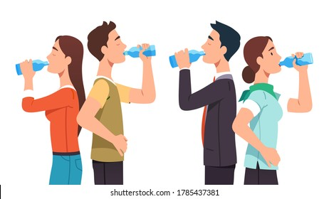 Casual and business man & woman couples standing & drinking pure water from glass bottles set. Thirsty people relaxing & drinking beverages hydrating. Hydration break. Flat vector illustration