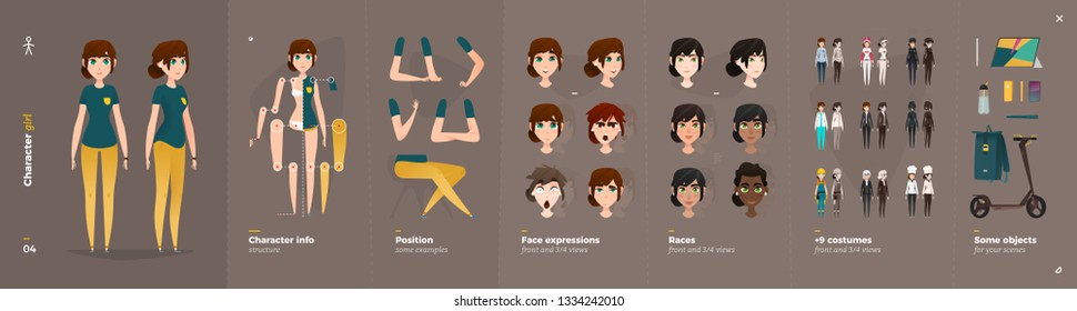 Casual Clothes Style. Girl Cartoon Character for Animation. Default Body Parts Poses with Face Emotions. Five Ethnic Styles