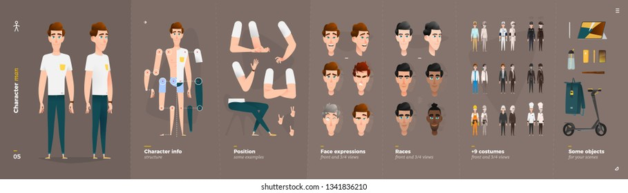 Casual Clothes Style. Man Cartoon Character for Animation. Default Body Parts Poses with Face Emotions. Five Ethnic Styles