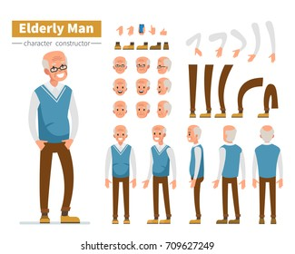 Casual elderly man character constructor for animation. Flat style vector illustration isolated on white background.