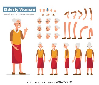 Casual elderly woman character constructor for animation. Flat style vector illustration isolated on white background.