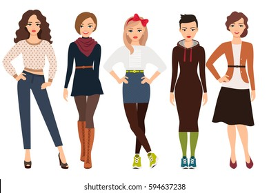 Casual fashion for cute woman on white. Cartoon teenage girl in everyday dress vector illustration