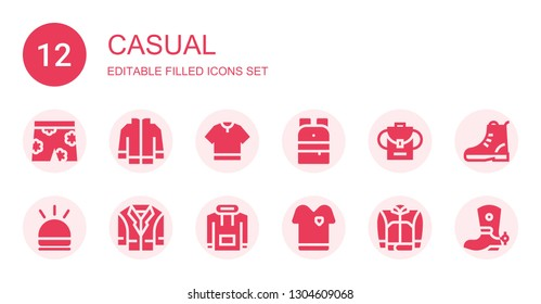 casual icon set. Collection of 12 filled casual icons included Short, Jacket, Tshirt, Backpack, Hooter, Hoodie, Boot