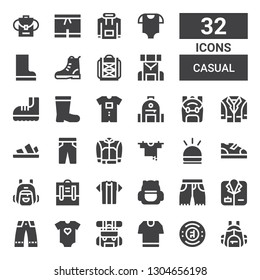 casual icon set. Collection of 32 filled casual icons included Backpack, Chelsea, Tshirt, Baby clothes, Trousers, Coat, Shorts, Boots, Hooter, Clothes hanger, Jacket, Sandals