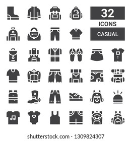 casual icon set. Collection of 32 filled casual icons included Backpack, Pants, Sleeveless, Baby clothes, Tshirt, Hooter, Boots, Trousers, Boot, Short, Shorts, Jacket, Skirt, Sandals