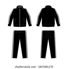 Casual jersey suits (for sports, training etc.) vector illustration set / white and black