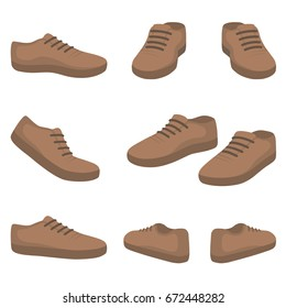 casual male shoes. back, front, side view. Vector fashion illustration