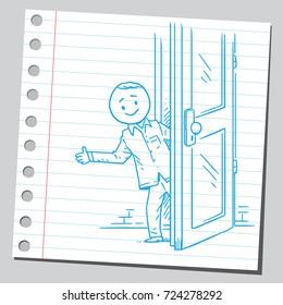 Casual man behind the door