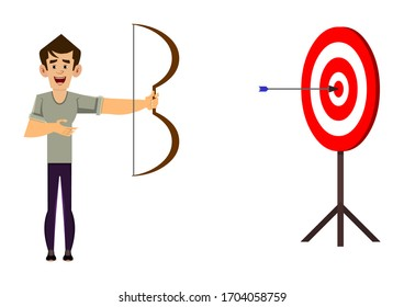 casual man cartoon character arching in business profit target