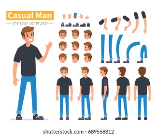 Casual man character constructor for animation. Flat style vector illustration isolated on white background.